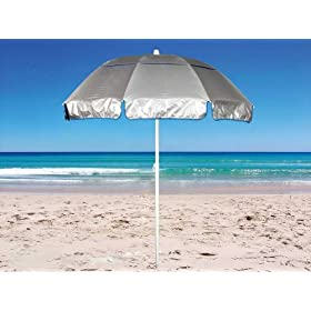 6 ft Solarteck Beach Umbrella with Tilt - Windproof