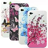 zkiosk 229 Schmetterling Blumen Design Auswahl 1 Silikon Schutzh�lle f�r Apple iPhone 4/4S (4-er Pack) pink/lila/blau/wei�/schwarz