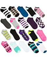 20 Pairs Ladies Athletic No-Show Low Cut Socks Assorted Colors Prints Sizes 5-10