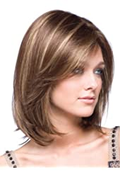 M4U Womens Gold Shoulder Length Straight Synthetic Fabulous Medium Wig For Woman