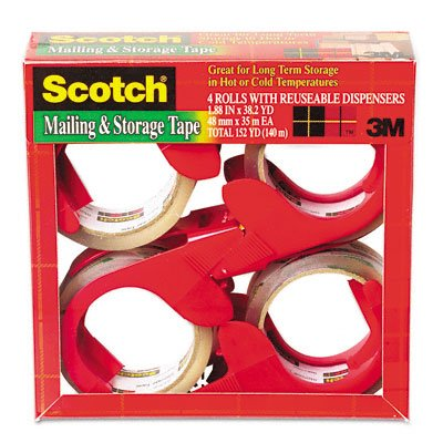 3M 3650S4RD Moving & Storage Tape, 1,88'' x 38.2 yards, 3'' fondamentales, clair, 4 rouleaux / paquet