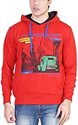 Priknit Men's Cotton Sweatshirt (IH-SS2-42 RED, Red, 42)