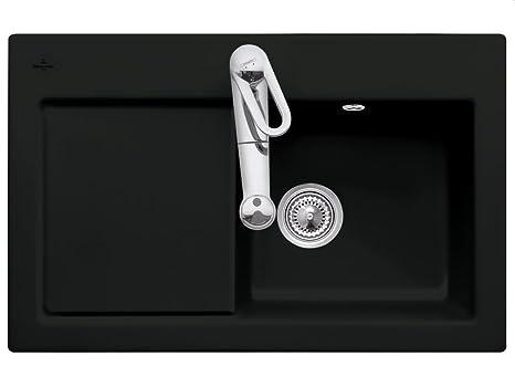 Villeroy Boch Subway 45 &Ceramic Ebony Black Kitchen Sinks Inset Mounting Spule