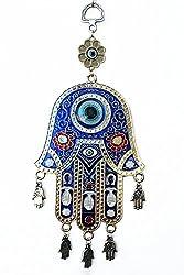 Odishabazaar Blue Hamsa Evil Eye Protection Amulet Hanging 9x3.5 inch