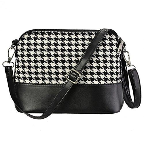 Bluetime Women's Synthetic Leather Plaid Flap Shoulder Bag Cross Body Bag Messenger Bag, Houndstooth
