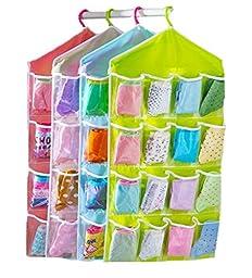 HENGSONG 16 Lots Socks Jewelry Bra Underwear Hanging Storage Pockets Bags Organizer (green)