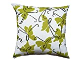 Balanced Design Hand Printed Cotton/Linen Butterfly Pillow, 22 by 22-Inch, Chautreuse