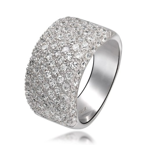 Bling Jewelry Wide Cubic Zirconia Half Eternity Cocktail Ring 925 Sterling Silver