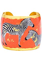 Evocateur Zebra Dreams Cuff Bracelet Bangle with Gold Leaf