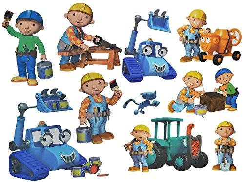 10-tlg-Set-Wandtattoo-Sticker-Fensterbilder-Bob-der-Baumeister-Wandsticker-Aufkleber-fr-Kinderzimmer-Jungen-Baustelle-Wendy-Baggi-Kinder-Wandaufkleber-Fenstersticker