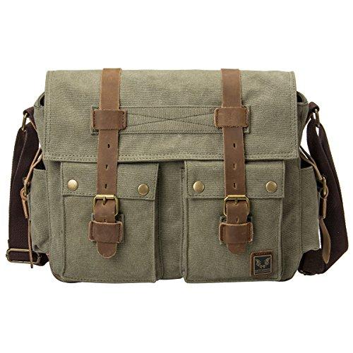Peacechaos® Men Leather Canvas Shoulder Bookbag Laptop Bag + Dslr Slr Camera Canvas Shoulder Bag (Army Green)