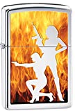 Sexy Ladies Hot Girls with Guns Silhouette Pin Up Chrome Zippo Lighter