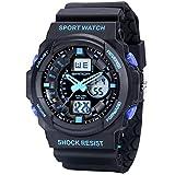 Sanda Mens Sports Watch Waterproof Shock Resist Dual Time Analog Digital LED Light Wristwatch