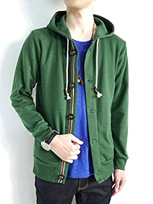 (モノマート) MONO-MART 10color パーカー 春 ボリュームネック メンズ 長袖 グリーン Mサイズ