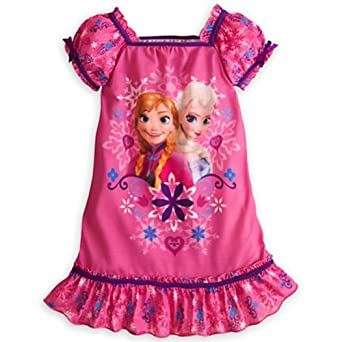Disney Anna and Elsa Frozen Nightshirt Nightgown Pajamas (S 5-6 Small)