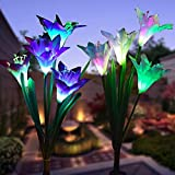 WOHOME Outdoor Solar Garden Stake Lights 2 Pack Solar Flower Lights with 8 Lily Flower,Multi-Color Changing LED Lily Solar Powered Lights for Patio,Yard Decoration,Bigger Flower and Wider Solar Panel (Color: Solar Flower Lights 2, Tamaño: Solar Flower Lights)