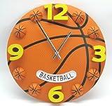 バスケ好きの方に 立体 バスケットボール クロック 掛け時計 直径30cm