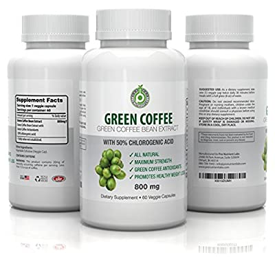 Pure Green Coffee Bean Extract - 800 mg GCA (50% Chlorogenic Acid) - Active Weight Loss Aid, Faster Fat Burning & Improved Metabolism - All Natural, 100% Veg Safe - No Side Effects (60 Capsules)