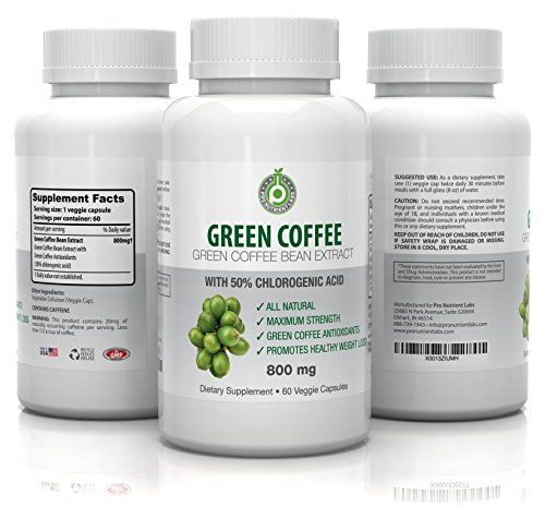 Pure Green Coffee Bean Extract - 800 mg GCA (50% Chlorogenic Acid) - Active Weight Loss Aid, Faster Fat Burning & Improved Metabolism - All Natural, 100% Veg Safe - No Side Effects (60 Capsules) (Wow Green Coffee compare prices)