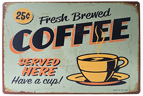"""MOOCO Fresh Brewed Coffee Served Here Have a Cup Tin Sign 12"""" X 8"""""""