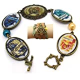 Tanboo Vintage Harry Potter Deathly Hallows with Two Owls Bracelet,with Hogwarts Four College Badges Bracelet,Thanksgiving Day