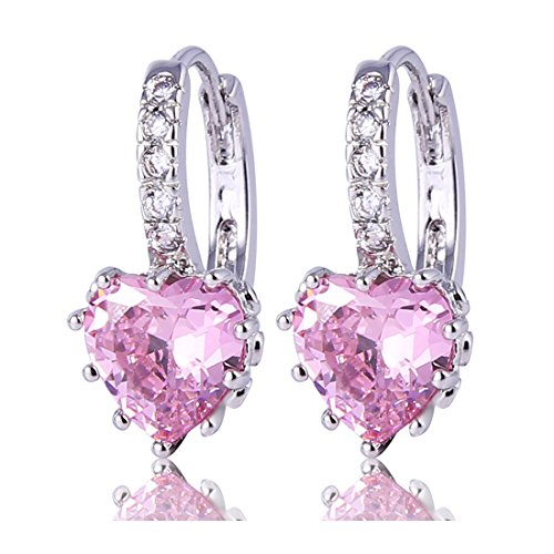 GULICX-Heart-shape-Created-Pink-sapphire-Cubic-Zirconia-Silver-Tone-hoops-shiny-earrings