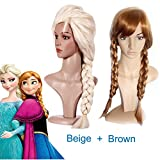 JUJU® Set Of 2 Frozen Queen Elsa Blonde Anna Brown Long Weaving Braid Costume Cosplay Wig With A Free Wig cap (Elsa Blonde+ Anna Brown)