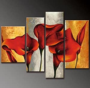 """Hand Painted Modern Abstract Art Work Oil Painting on Canvas Stretched & Framed! """" A Crimson Opportunity """""""