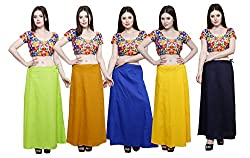 Pistaa combo of Women's Pure Cotton Parrot Green, Mustard, Ink Blue, Yellow and Navy Blue Color Solid Ethinic Daily Wear Inskirt Saree petticoats