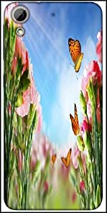 Snoogg Butterfly On Flowers Designer Protective Back Case Cover For HTC Desire 626