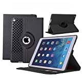 iPad Air 2 Case, TabPow [360 Degree Rotating Case] [Auto Sleep Wake Feature] Premium PU Leather TPU Flip Case Smart Cover Stand with Card Slots, Pocket, Elastic Hand Strap For Apple iPad Air 2 with Retina Display / iPad 6, Black