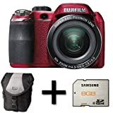 Fujifilm FinePix S4500 Red + Case and 8GB Memory Card (14MP, 30x Optical Zoom) 3 inch LCD Screen