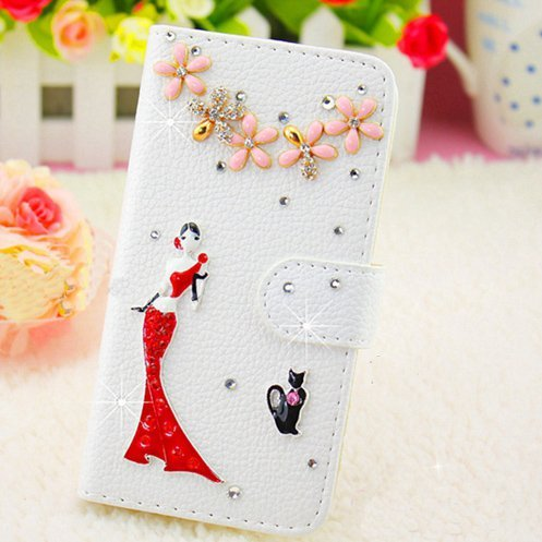 Luxury 3D Bling Iphone 6 Plus [5.5] Crystal Rhinestone Wallet Leather Purse Flip Card Pouch Stand Cover Case + Bonus Hundromi Logo Stylus(lady and cat)