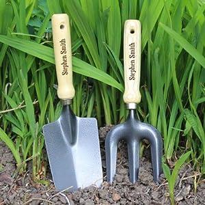Personalised trowel and fork set gardening gift for Garden trowel and fork set