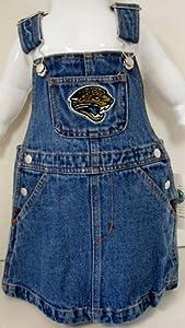 NFL Officially Licensed Jacksonville Jaguars Girls Bib Overall Jean Skirt (Size 2T)... by Reebok