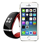 New OLED Anti-lost Bluetooth Bracelet Wrist Smart Watch for iPhone6/6 Plus 5S 5C Android Samsung S5 S4 Note4 3 2 Htc one M7 M8 LG Phone(L12S red)