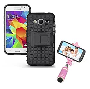 Hard Dual Tough Military Grade Defender Series Bumper back case with Flip Kick Stand for Samsung J3 + Mini Aux Wired Selfie Stick Compatible for all Mobiles Phones by Carla Store.