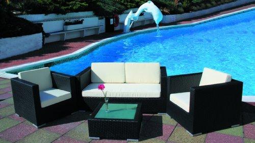 Cozy Bay® Oxford 4-Seater Rattan Furniture Black Super Garden Conservatory Deep Seating Set
