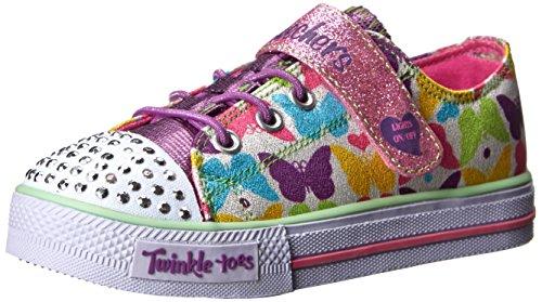 Skechers Kids Twinkle Toes-Shuffles Sneaker (Toddler/Little Kid),White/Multi,10 M Us Toddler
