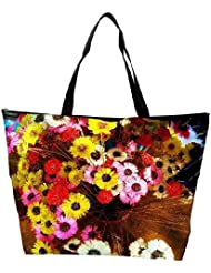 Snoogg Colorful Flowers Background Waterproof Bag Made Of High Strength Nylon