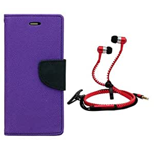 Aart Fancy Diary Card Wallet Flip Case Back Cover For HTC 616-(Purple) + Zipper earphones/Hands free With Mic *Stylish Design* for all Mobiles By Aart store
