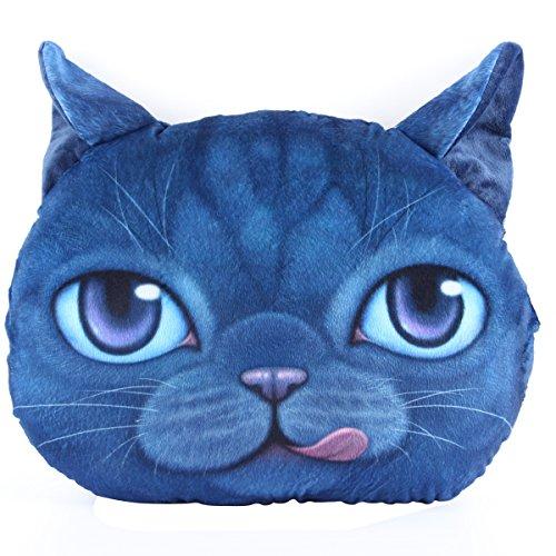 Mkono Decorative Throw Pillow 3D Effect Big Cat Face Meow Cartoon Sofa Cosplay Throw Pillow Car Cushion Nap pillow seat cushion, Lovely Cate Stuffed Toys,Cute Blue Cat