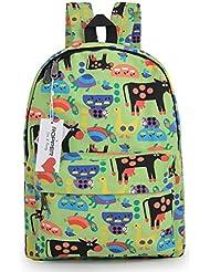 "Ropper Lightweight Canvas Cute Pattern Kids School Backpack,15"" (Green-Cow)"