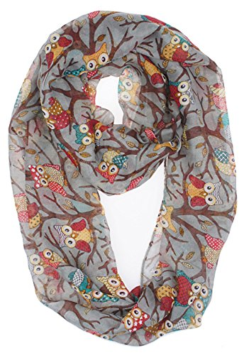 Vivian & Vincent Soft Light Weight Cartoon Owl Sheer Infinity Scarf Gray
