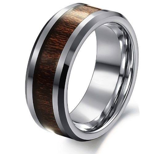 Opk Jewellery Fashion Men's Ring Inlaid Brown Carbon Fiber Pure Tungsten Steel Finger Band 8mm Width 10g Weight Classic Personalized Gift New Style Ring