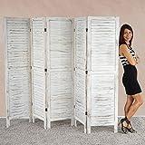 Serie vintage paravento 5 pannelli legno paulonia 2x228x170cm ~ bianco