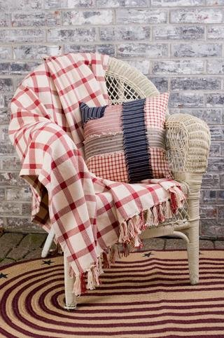 "Clayton Red 50x60"" Woven Throw Quilt Throw Blanket"