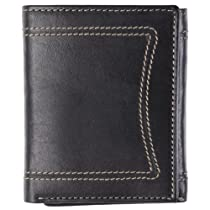 Daxx Mens Topstitched Tri-fold Genuine Leather Wallet