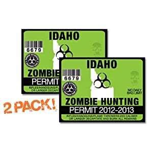 Oolaregina10739 idaho zombie hunting permit tag 2 pack for Idaho fishing license