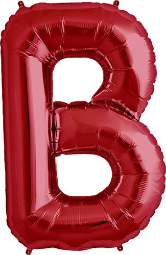 Letter B - Red Helium Foil Balloon - 34 inch